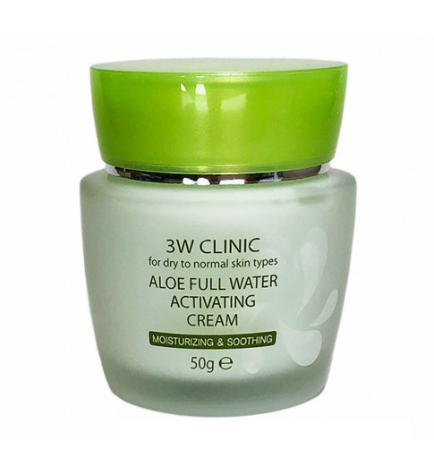 3W CLINIC АЛОЭ/Крем для лица Aloe Full Water Activating, 50 гр КОРЕЯ
